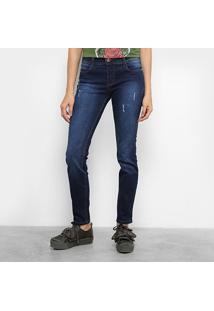 Calça Jeans Skinny Colcci Fatima Lavagem Escura Puídos Cintura Média Feminina - Feminino