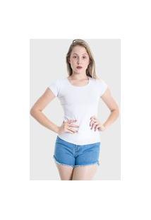 Camiseta T-Shirt Básica Plus Size Lynnce Branco