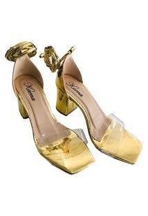 Sandália Feminina Dourada Palmilha Quadrada Salto Bloco 8Cm 24
