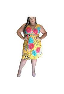 Vestido Predilect'S Plus Size Amarelo Estampado