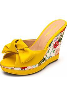 Sandália Tamanco Anabela Salto Alto Feminino Conforto Amarelo