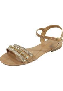 Sandália Rasteira Hope Shoes Pedraria Bege