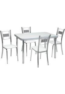 Conjunto De Mesa Com 4 Cadeiras Mirela Corino Branco E Cromado