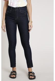 Calça Jeans Feminina Sawary Skinny Pull Up Cintura Alta Azul Escuro