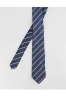 Gravata Listrada Em Jacquard Azul Marinho - Único