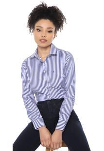 Camisa Dudalina Listrada Azul/Banca