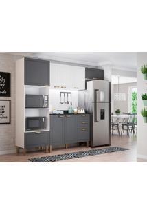 Cozinha Compacta Nevada Vii 7 Pt 4 Gv Grafite E Branca
