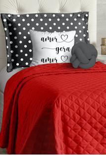Cobre Leito Solteiro Casa Modelo Acompanha Almofadas 4 Peças Gabi - Vermelho