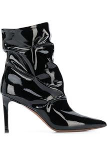 L'Autre Chose Ankle Boot Com Efeito De Vincos - Preto