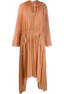 Atu Body Couture Vestido Assimétrico Com Pregas - Neutro
