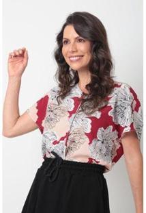 Blusa Decote V Crepe Flores Ervadoce Feminina - Feminino