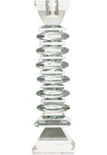 Castiçais Em Cristal Porta Vela Transparente 25 X 7 Cm Transparente