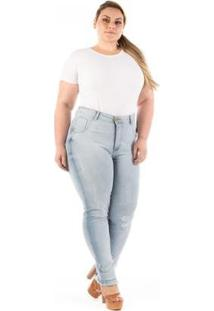 Calça Jeans Com Lycra E Barra Desfiada Plus Size Feminina - Feminino-Azul