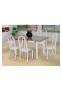 Conjunto De Mesa Carla Com 6 Cadeiras Branca Capitonê