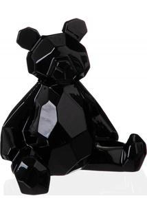 Escultura Decorativa Em Cerâmica Teddy 19X18Cm Preta