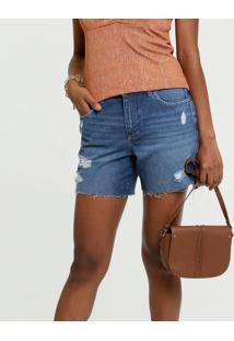 Bermuda Feminina Jeans Destroyed Barra Desfiada Marisa