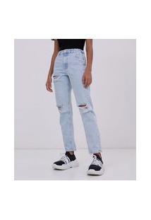 Calça Mom Jeans Com Puídos | Blue Steel | Azul | 42