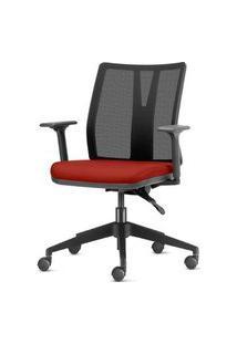 Cadeira Addit Assento Crepe Vermelho Bordo Com Base Piramidal Em Nylon - 54114 Vermelho