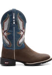 Bota Texana Fossil Bordado - Masculino-Marrom+Azul