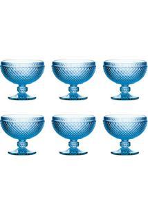 Conjunto De Taças Para Sobremesa Com 6 Unidades Lux Azul 300 Ml