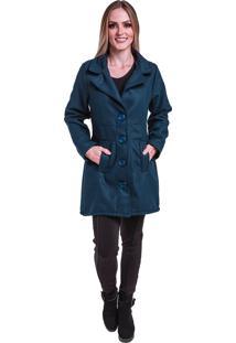 Sobretudo Jaqueta Inverno Frio Lã Batida Azul Marinho