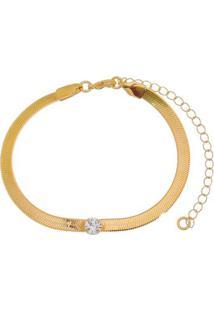 Pulseira Banhada A Ouro Com Zicã´Rnia- Incolor & Dourada