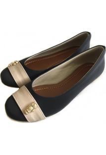 Sapatilha Likka Calçados Preta Faixa Bege Detalhe Coruja Dourada