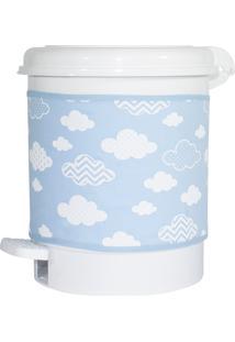 Lixeira Nuvem Chevron Azul Quarto Bebê Infantil Menino - Kanui
