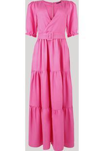 Vestido Feminino Mindset Longo Com Recortes E Cinto Manga Bufante Pink