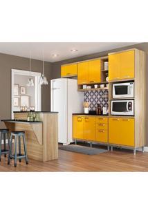Cozinha Compacta Com Tampo 6 Peças 5844 Sicília - Multimóveis - Argila / Amarelo