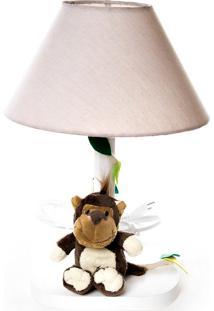 Abajur Madeira Floresta Macaco 2 Bebê Infantil Potinho De Mel Bege