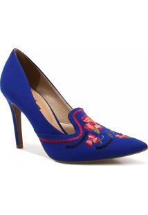 Sapato Zariff Shoes Scarpin Bordado Azul