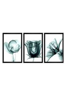 Quadro Oppen House 60X120Cm Flores Abstrato Transparentes Moldura Preta Estilo Raio X Decorativo Interiores Mod:Oh009