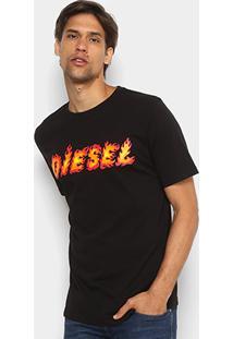 Camiseta Diesel Estampada Masculina - Masculino-Preto