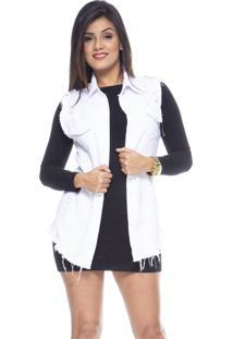 Colete Jeans Estilo Fino Destroyed Branco - Kanui
