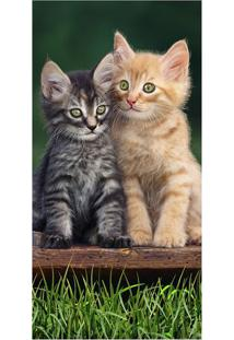 Toalha De Praia Two Happy Cats- Verde & Bege- 76X152Buettner