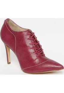 Ankle Boot Em Couro Croco- Pink- Salto: 8Cmjorge Bischoff