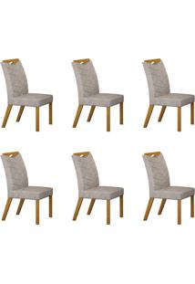 Conjunto Com 6 Cadeiras Verona Imbuia Mel E Pena Cinza