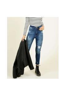 Calça Jeans Destroyed Feminina Cintura Alta