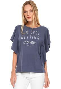 Camiseta Colcci Babados Azul