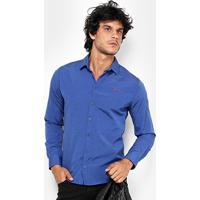 Camisa Coca Cola Ml Tricoline Poá Slim Fit Masculina - Masculino-Azul 02b229dbcbc