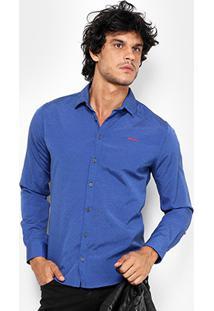 Camisa Coca Cola Ml Tricoline Poá Slim Fit Masculina - Masculino-Azul