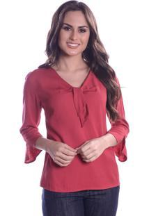Blusa Lisa Vermelha Com Lacinho - Rosa/Vermelho - Feminino - Viscose - Dafiti