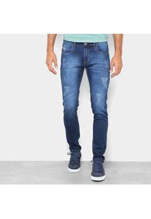 Calça Jeans Skinny Preston Estonada Puídos Cintura Baixa Masculina - Masculino