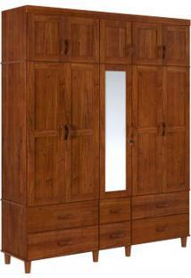 Guarda Roupa Tripartido Finestra Ecco 10 Portas E 06 Gavetas C/01 Espelho Imbuia