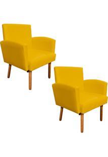 Kit 02 Poltronas Decorativa Veronês Para Sala E Recepção Corino Amarelo - D'Rossi