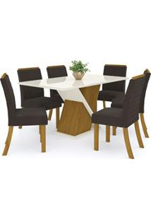 Sala De Jantar Mesa Solus 160Cm Com 6 Cadeiras Vega Nature/Off White/M