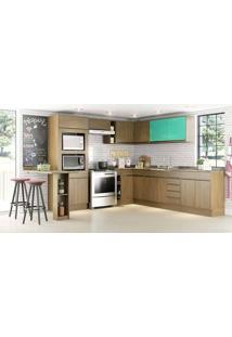 Cozinha Modulada Completa 9 Módulos Com Balcão Ilha E Painel Decorativo Adorei Castanho/Acqua/Lousa - Decibal