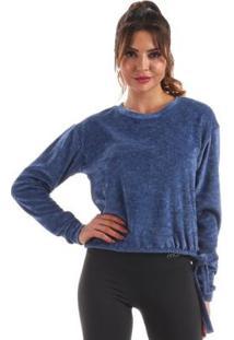 Blusão Plush Manly Feminina - Feminino-Azul Escuro