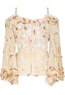 One Vintage Blusa De Renda Floral - Neutro